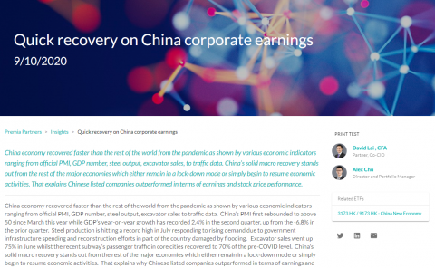 Quick recovery on China corporate earnings
